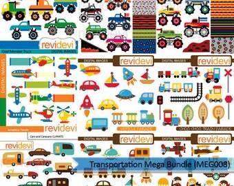 Transportation clipart big mega bundle - monster trucks, land vehicle, air transport - instant download, commercial use