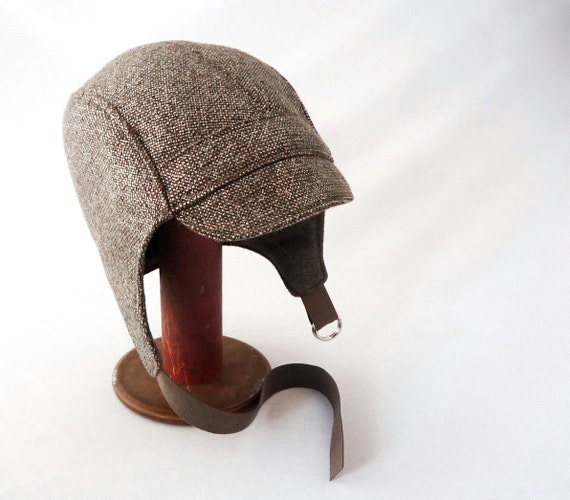 aviator hat in metallic pewter glazed wool mens womens
