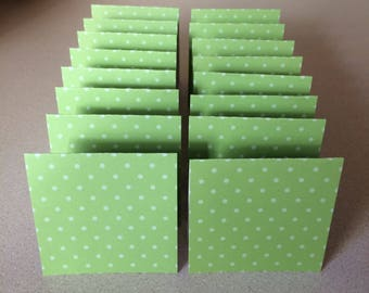 Mini Cards 16 Green Dot - blank for thank you notes 3 x 3