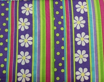Dizzy Daisy Girls stripe  100% cotton fabric by Patty Reed Designs