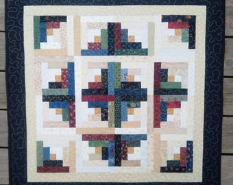 Log Cabin Wall Hanging or Table Topper Quilt