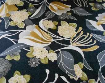 Black Neutral Flowers Fabric