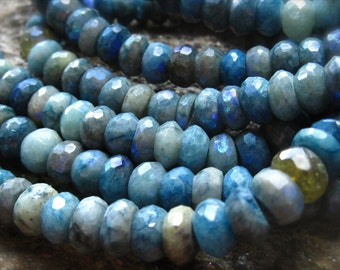 Mystic AB Chrysocolla beads faceted rondelles 7mm X 4mm