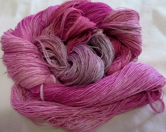 Hand Dyed Bamboo Yarn - CRANBERRY DREAM - 630 yds.