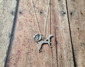 Pointer initial necklace - pointer dog jewelry, dog breed jewelry, German shorthaired pointer jewelry, English pointer dog jewelry