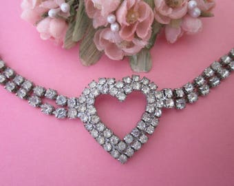 Vintage Rhinestone Necklace / Wedding Necklace / Prom Necklace with Heart
