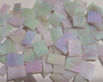 "Mosaic Tiles 1/2 - 1"" 100 pcs IRRIDESCENT LIGHT PASTEL Stained Glass Mosaic Tile"