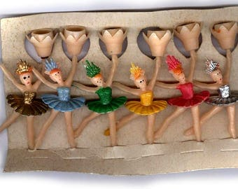 vintage plastic BALLERINAS, they were 1960s candle holders, HONG KONG on card six fun retro antique kiddie candle holders