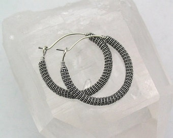 15% OFF Coiled Wire Wrapped Earrings, Sterling Silver Hoops, Hoop Earrings, Antiqued Silver, Bali Silver, Wire Wrapped Jewelry, Handmade