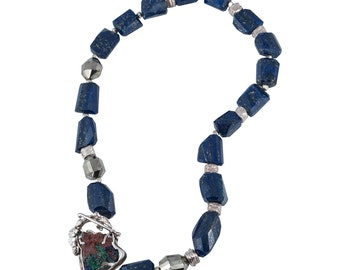 Lapis Lazuli, Pyrite, and Sterling Silver Nugget Choker Necklace, Designer Azurite Clasp, Boutique Wearable Art, High End