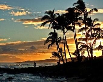 Hawaii Sunset Photo, ocean sunsetsHawaiian photos, nature photography, sunset art, color photo, home decor, office decor, art & collectibles