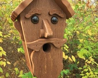 Old Man Face Birdhouse Unique Conversation Piece