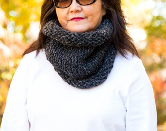 Knit Cowl, Chunky Rolled Knit Cowl - Charcoal, READY TO SHIP