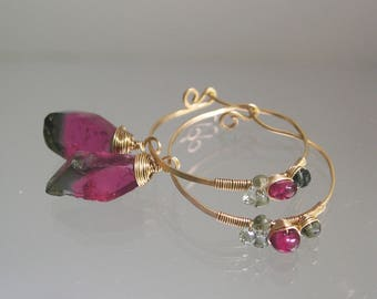 Deep Pink Tourmaline 14k Gold Filled Hoops, Lightweight Gemstone Earrings with Green and Pink Tourmaline, and Sapphires