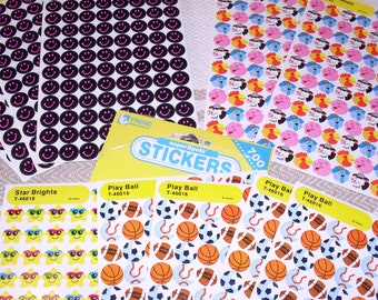 Vintage Trend 1992 Farm Animals Sports Balls Smiley Faces Stars Mini Stickers 12 Sheets SuperSpots