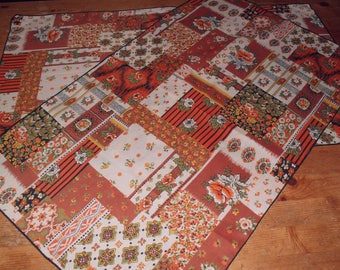 Pair of Vintage Orange, Black and Green Table Runners Faux Patchwork