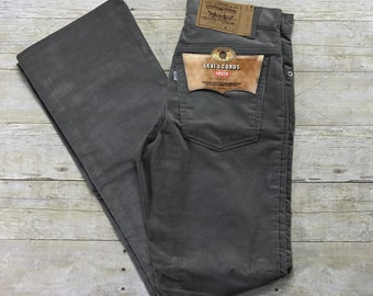 Vintage Deadstock 1980s Levis Cords Gray Corduroy Jeans Made in USA Mens Size W29 x L32