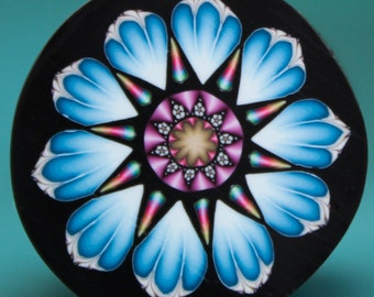 MEDIUM Blue Polymer Clay Flower Cane -'Intricacies of the Heart' (4D)