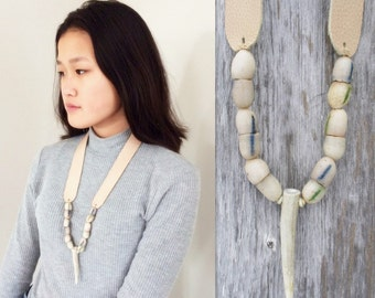 Rustic Necklace with Deer Antler Tip - African Trade Beads with Nude Leather Neck Strap by Stacy Leigh