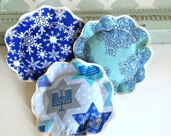 hanukkah lavender sachet trio set, flower shape hanukkah menorah fabric lavender sachets, 3 fabric scrap sachets, Jewish, Judaica gift -No.2