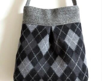 Black and Gray Argyle BELLA Handbag, Upcycled Wool Sweater Purse, Shoulder Bag