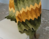 Vintage CHEVRON knit throw blanket - mustard and green - afghan, stadium, picnic, nursery, 1970s, 70s, knitted crocheted
