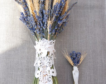 Custom Brides Bouquet Groom's Boutonniere of Lavender and Wheat paulajeansgarden