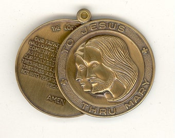 1 Vintage Lord's Prayer Hinged Slide Religious Antiqued Brass Medal To Jesus Thru Mary 30mm Charm No. 951