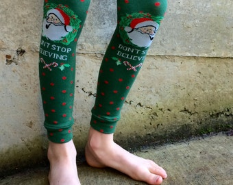 Sale - Christmas Leg or Arm Warmers for Boys and Girls -Santa, Don't Stop Believing - Sizes for Baby, Toddler, Kid, Tween - Baby Shower Gift