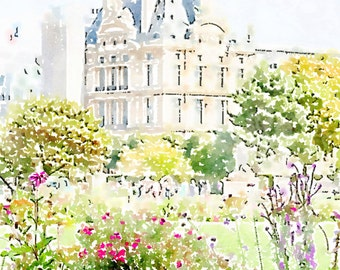 Printable Photo Art, Paris Louvre Tuileries Garden, Instant Download, Paris Watercolor Painting