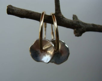 Gold and Silver Mixed Metal Hoop Silver Tabbed Earrings