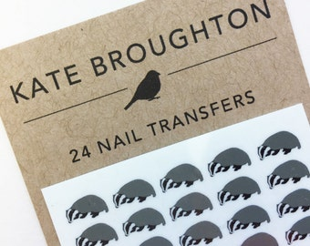 badger nail transfers - illustrated animal nail art decals - wildlife / nature nail stickers