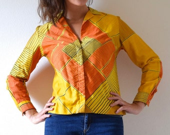 SUMMER SALE / 20% off Vintage 60s 70s Vera Neumann Graphic Yellow and Orange MOD Long Sleeved Collared Polished Cotton Blouse (size small, m
