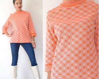 SPRING SALE / 30% off Vintage 60s 70s Jantzen Mod Bright Orange and White Geometrical Print Box Sleeve Wool Tunic (size medium, large)