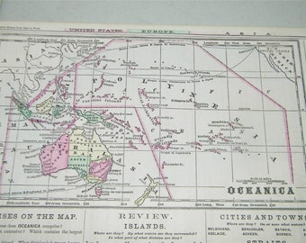 Vintage Antique Oceanica Map 1866 Monteiths 12821 Color