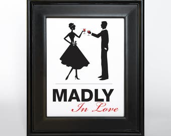 Madly in Love Sign Printable DIY Digital File PDF Mad Fifties Retro Silhouette Couple Wedding Decor Couples Shower