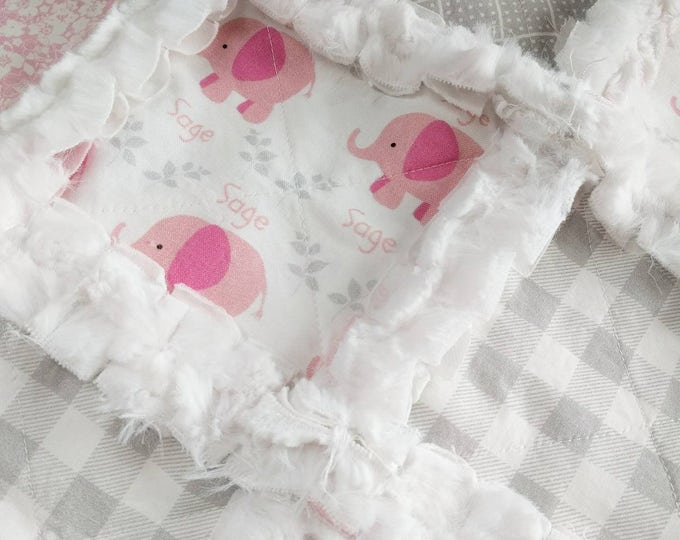 Featured listing image: Personalized Elephant Minky Rag Quilt – Baby Girl Toddler Quilt –Elephant Bedding – Pink, Gray, Elephant– Crib Blanket - Crib Quilt