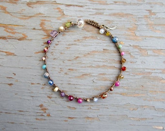 ZEN/yoga crocheted bracelet with gemstones and crystals, boho, natural, yoga, comfortable, easy wear