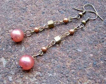 Eco-Friendly Dangle Earrings - Crescendo - Recycled Tiny Vintage Brass Cube Beads and Round Glass Pearls in Pale Dusky Melon