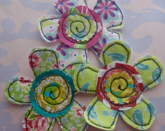 Sewn Petal Flower Fabric Appliques Set of Three