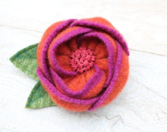 Wool Flower Brooch Orange and Pink Flower Pin