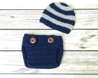 Crochet Baby Boy Outfit - Hat Diaper Cover Set -Grey - Navy Blue -Newborn Boy Photo Prop -Photography Prop -Coming Home Outfit -Baby Boy Set