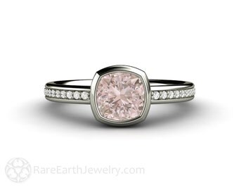 Light Pink Sapphire Engagement Ring Cushion Cut Bezel Sapphire Ring 14K or 18K Gold or Platinum