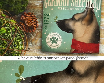 German Shepherd dog mistletoe company Christmas holiday illustration graphic art on canvas by stephen fowler