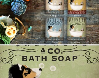 Australian Shepherd aussie  dog bath soap Company artwork on wooden canvas panel by Stephen Fowler