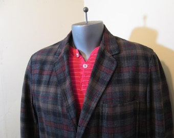 Pendleton 49er jacket Pendleton Vintage 50s Shirt Gray Plaid Jacket Brown plaid Pendleton wool L