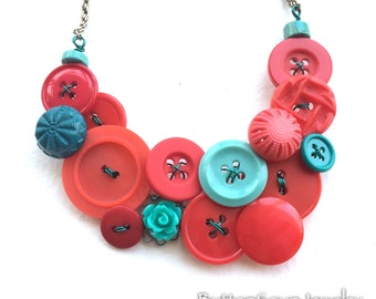 Aqua and Red Vintage Button Jewelry Statement Necklace