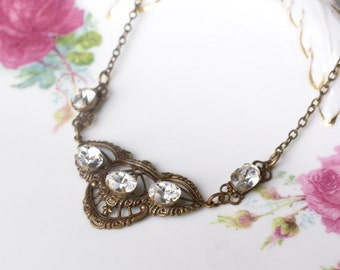 Art nouveau crystal necklace brass filigree 1920's style edwardian jewel bronze bridal wedding jewelry vintage antique style