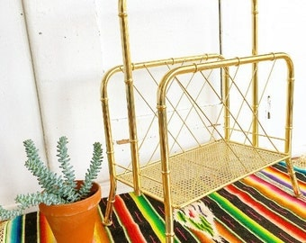 Extra Extra Read All About It... Mid Century Modern Faux Bamboo Gold Metal Magazine Rack Holder Stand Hollywood Regency