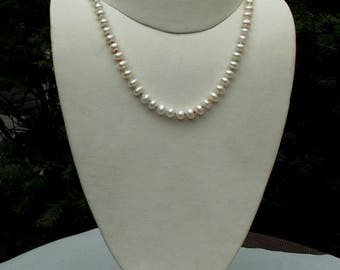 Cultured freshwater pearl LGBTQ necklace hand knotted on silk 17 inches